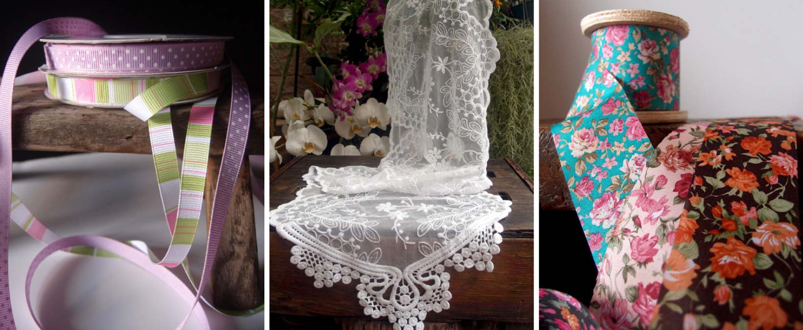 Spring ribbons and easter decor with lace table runners