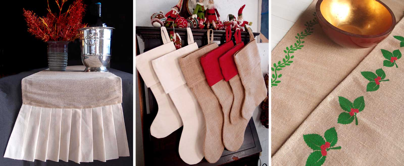 Holiday Christmas Rustic Decor, Jute Runners, Natural Burlap Stockings