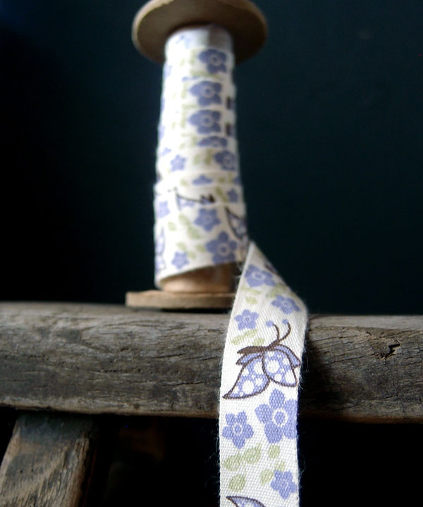 Lavender Butterfly Printed Cotton Ribbon