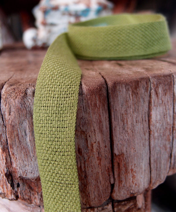 Moss Linen/Cotton Blend Ribbon