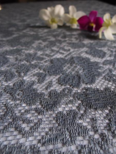 "Pewter Gray Floral Lace Overlay  - 54"" x 54"""