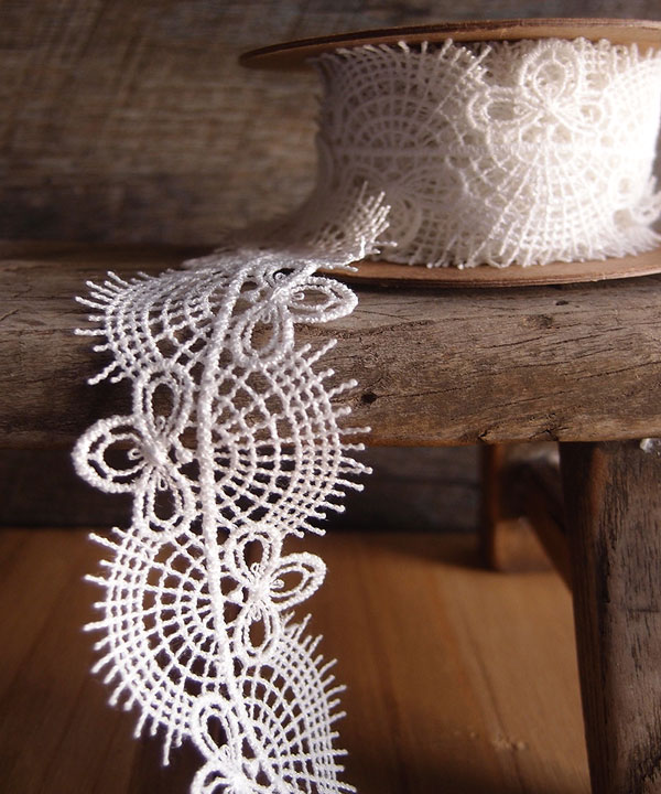 "Embroidered Ivory Cotton Floral Lace Trim Ribbon - 1 1/2"" x 5Y"