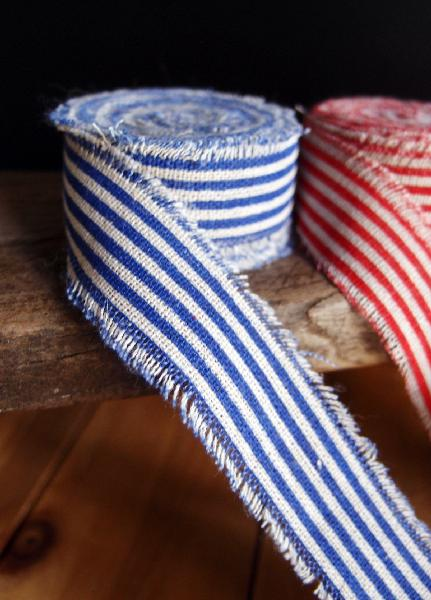 Blue Striped Linen Ribbon