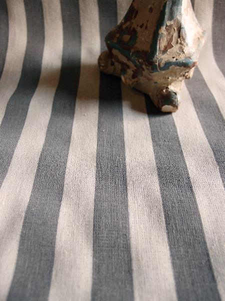 Linen Table Runner Solid Pewter Gray Stripes Selvage Edge
