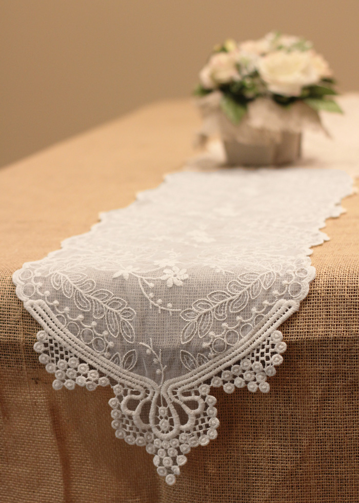 white lace table runner 12 x 74