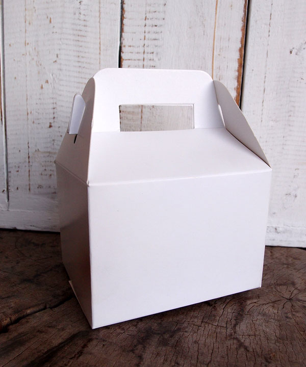 White Kraft Paper Gable Favor Boxes