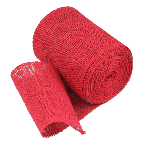 Red Burlap Jute Ribbon 6""