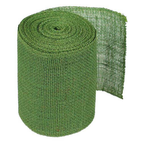 Green Burlap Jute Ribbon 6""