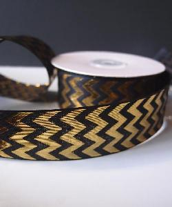 Gold Metallic Chevron on Black Ribbon