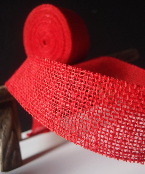 Red Burlap Jute Ribbon 2""