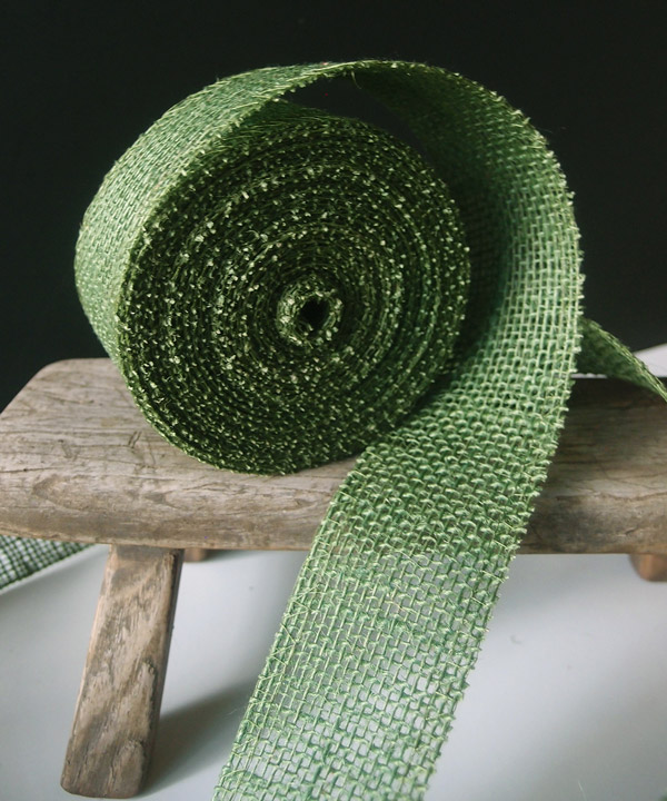 Green Burlap Jute Ribbon 2""