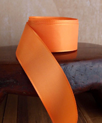 Orange Taffeta Ribbon with Wired Edge