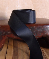 Black Taffeta Ribbon with Wired Edge