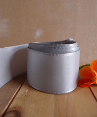 Silver Taffeta Ribbon with Wired Edge