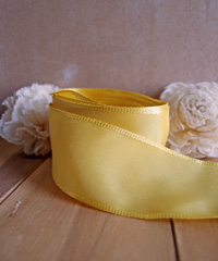 Yellow Taffeta Ribbon with Wired Edge