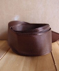 Dark Brown Taffeta Ribbon with Wired Edge