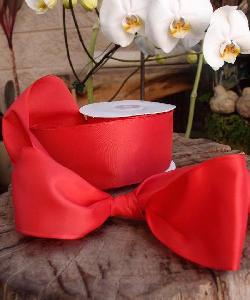 Red Taffeta Ribbon with Wired Edge