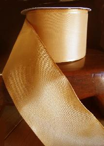 "Gold Taffeta Ribbon with Wired Edge - 2 1/2"" x 25Y"