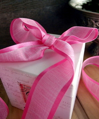 Hot Pink Faux Linen Ribbon with Satin Edge