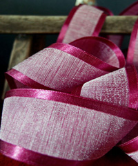 Burgundy Faux Linen Ribbon with Satin Edge