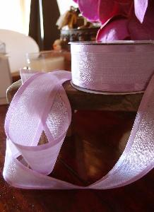 "Lavender Faux Linen Ribbon with Satin Edge 1 1/2""  - 1 1/2"" x 25Y"