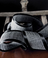 Black Faux Linen Ribbon with Satin Edge