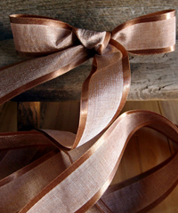 Chocolate Faux Linen Ribbon with Satin Edge