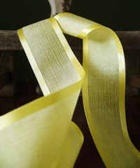 Yellow Faux Linen Ribbon with Satin Edge