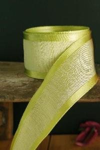 Pear Green Faux Linen Ribbon with Satin Edge