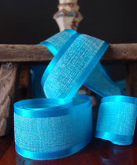 Turquoise Faux Linen Ribbon with Satin Edge