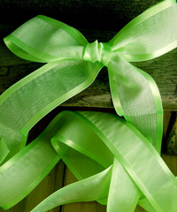 Neon Green Faux Linen Ribbon with Satin Edge