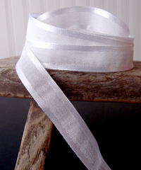 White Faux Linen Ribbon with Satin Edge