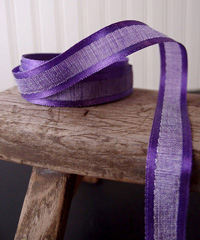 Purple Faux Linen Ribbon with Satin Edge