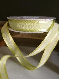 "Pear Green Faux Linen Ribbon with Satin Edge 5/8"" - 5/8"" x 25Y"