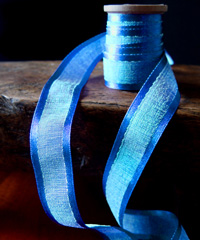 Royal Blue Faux Linen Ribbon with Satin Edge