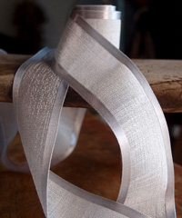 Silver Faux Linen Ribbon with Satin Edge