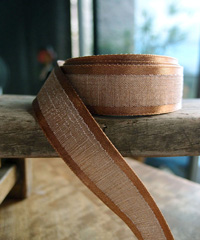 Brown Faux Linen Ribbon with Satin Edge