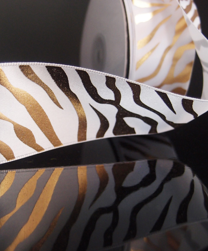 Gold Metallic Zebra Print on White Satin Ribbon