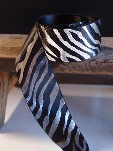 Silver Metallic Zebra Print on Black Satin Ribbon