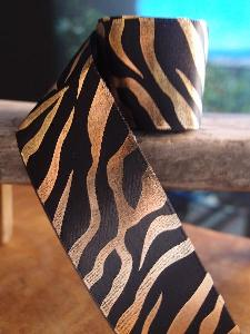 Gold Metallic Zebra Print on Black Satin Ribbon