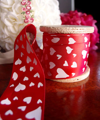 Red Satin Ribbon with White Hearts