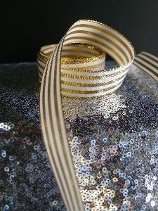 "Gold & Ivory Metallic Striped Ribbon - 7/8"" x 25 yards"