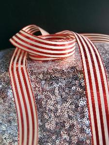 "Red & Ivory Metallic Striped Ribbon - 7/8"" x 25 yards"