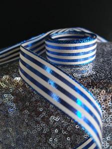 "Blue & Ivory Metallic Striped Ribbon - 7/8"" x 25 yards"