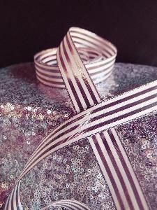 "Rose Gold & Ivory Metallic Striped Ribbon - 7/8"" x 25 yards"