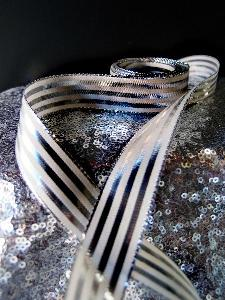 "Platinum & Ivory Metallic Striped Ribbon - 7/8"" x 25 yards"
