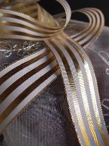 "Gold & Ivory Metallic Striped Ribbon - 1 1/2"" x 25 yards"