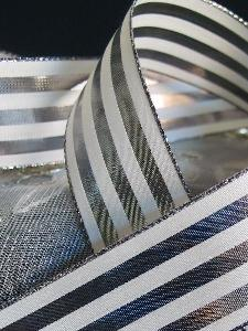 "Silver & Ivory Metallic Striped Ribbon - 1 1/2"" x 25 yards"