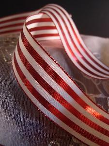 "Red & Ivory Metallic Striped Ribbon - 1 1/2"" x 25 yards"