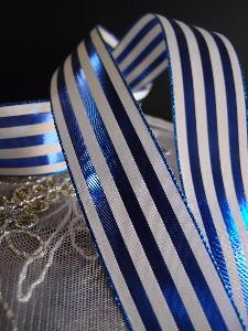 "Blue & Ivory Metallic Striped Ribbon - 1 1/2"" x 25 yards"